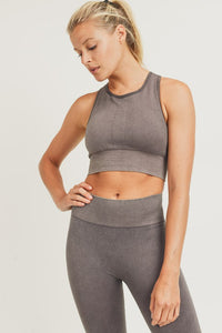 Mineral-Washed Racerback Sports Bra