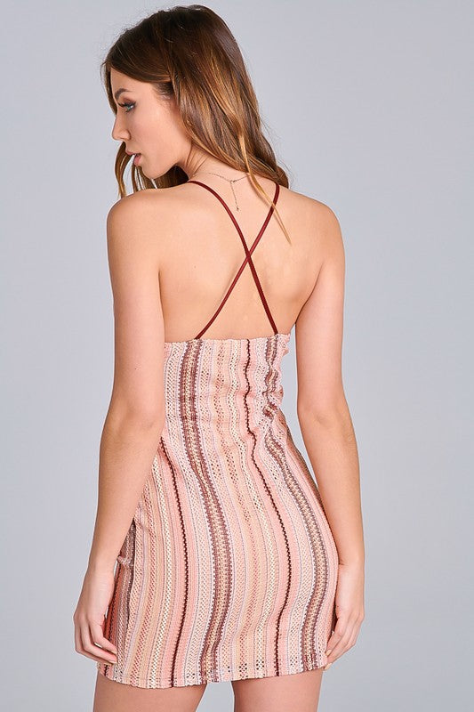 Peach Multi Mini Dress