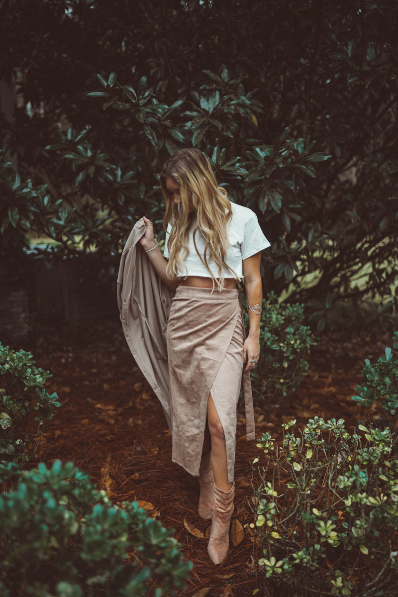 Suede Wrap Midi Skirt