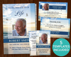 4 Page Beach Funeral Program Template + 4 matching Templates