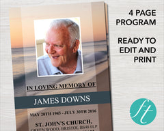 4 Page Beach Wave Funeral Program Template
