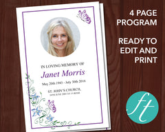 4 Page Butterfly Funeral Program Template