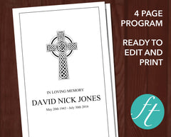 4 Page Catholic Cross Funeral Program Template