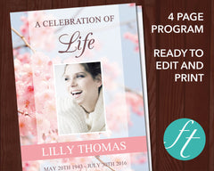 4 Page Cherry Blossom Funeral Program Template