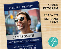4 Page Classic Blue Funeral Program Template