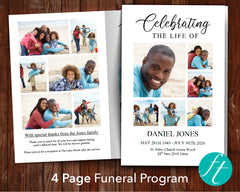 4 Page Family Photo Collage Funeral Program Template