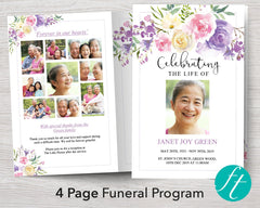 4 Page Floral Arch Funeral Program Template