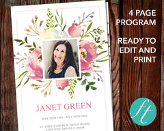 4 Page Floral Burst Funeral Program Template