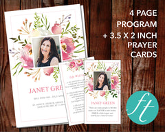 4 Page Floral Burst Funeral Program Template + Prayer Card