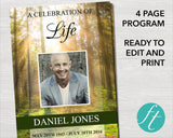 4 Page Forest Funeral Program Template