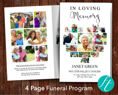 4 Page Heart Photo Collage Funeral Program Template