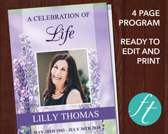 4 Page Lavender Funeral Program Template