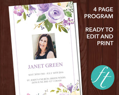 4 Page Lilac Bouquet Funeral Program Template