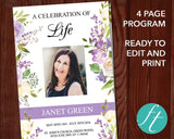 4 Page Lilac Display Funeral Program Template