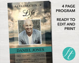 4 Page Mountain Top Funeral Program Template