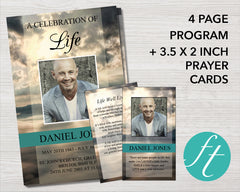 4 Page Mountain Top Funeral Program Template + Prayer Card