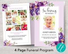 4 Page Peonies Bloom Funeral Program Template