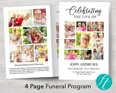 4 Page Photo Collage Funeral Program Template
