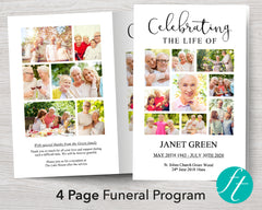 4 Page Photos Funeral Program Template
