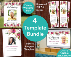 4 Page Pink Bloom Funeral Program + Sign, Slide Show & Bookmark