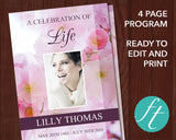 4 Page Pink Blossom Funeral Program Template