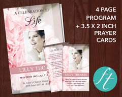 4 Page Pink Carnations Funeral Program Template + Prayer Card