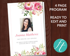 4 Page Pink Floral Funeral Program Template