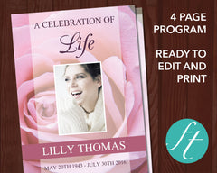 4 Page Pink Rose Funeral Program Template