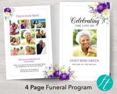 4 Page Purple Bloom Funeral Program Template