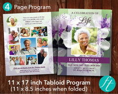 4 Page Purple Blossom Funeral Program Template (11 x 17 inches)