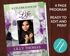 4 Page Purple Blossom Funeral Program Template