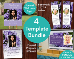 4 Page Purple Bouquet Funeral Program + Sign, Slide Show & Bookmark