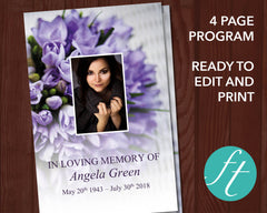 4 Page Purple Bouquet Funeral Program Template