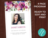 4 Page Purple Roses Funeral Program Template