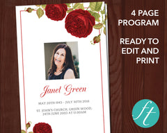 4 Page Red Rose Funeral Program Template