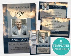 4 Page Sky Funeral Program Template + 4 matching Templates