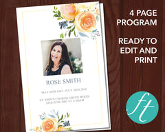 4 Page Yellow Rose Funeral Program Template