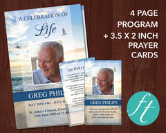 4 Page Beach Funeral Program Template + Prayer Card