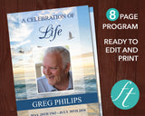 8 Page Beach Funeral Program Template