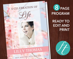 8 Page Cherry Blossom Funeral Program Template