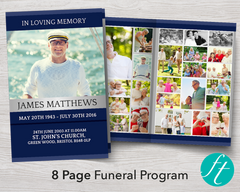 8 Page Classic Blue Funeral Program Template