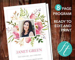 8 Page Floral Burst Funeral Program Template