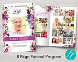8 Page Floral Display Funeral Program Template