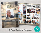 8 Page Mountain Funeral Program Template