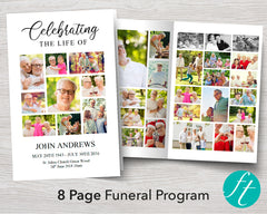 8 Page Photo Collage Funeral Program Template