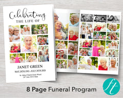 8 Page Photos Funeral Program Template