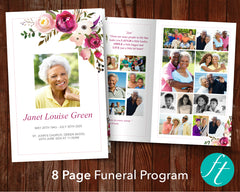 8 Page Pink Bloom Funeral Program Template