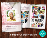 8 Page Pink Carnations Funeral Program Template