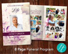 8 Page Pink Petals Funeral Program Template