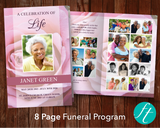 8 Page Pink Rose Funeral Program Template